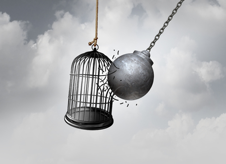 Freedom cage and break Free concept as a wrecking ball liberating a birdcage breaking open a prison as an abstract idea of escaping an addiction or detention hope as a 3D illustration.