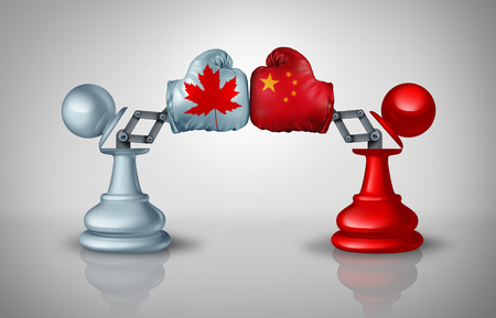 China Canada conflict Strategy with Chinese and Canadian diplomatic challenges with two chess pawns trading fight as an economic import and exports or political dispute concept with 3D illustration elements