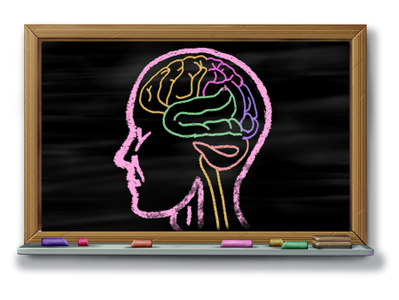 Concept of autism adapted education or autistic development disorder as an icon of a communication and social behavior psychology as a chalk drawing on a school blackboard or chalkboard with 3D illustration elements. Stock Photo