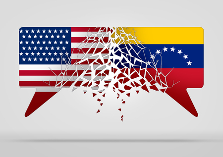 Venezuela United States conflict and diplomatic crisis or Venezuelan political situation as uncertainty in Caracas and breakdown of diplomacy with the south american country in a 3D illustration style.