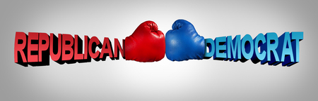 Democrat republican fight as an american political battle in the senate or congress as Republicans Versus Democrats with two boxing gloves fighting the right and left for United states USA citizens with 3D illustration elements.