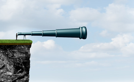 Search concept with a businessman on a cliff searching using a telescope as a corporate symbol for career future or analyzing the environment or spying on competitors with 3D illustration elements.