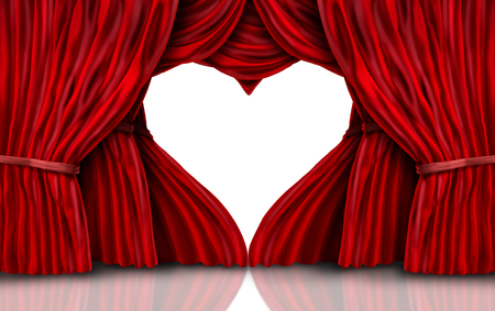 Valentines day red velvet curtains on white as a romantic stage with drapes shaped as a heart as a 3D illustration. Stok Fotoğraf