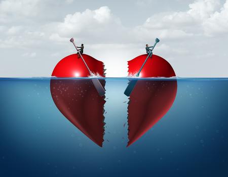 Scheidungstrennung als zerbrochene Beziehung mit einem wegdriftenden Paar, das ein Herz zerbricht, das das Konzept eines Ehestreits zeigt und Vermögenswerte mit 3D-Illustrationselementen teilt. Standard-Bild