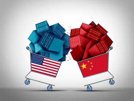 China American trade fight and USA economic challenge or United States Chinese business negotiations conflict concept as an economic war and tariff dispute on imports and exports industry as a 3D illustration. Stock Photo