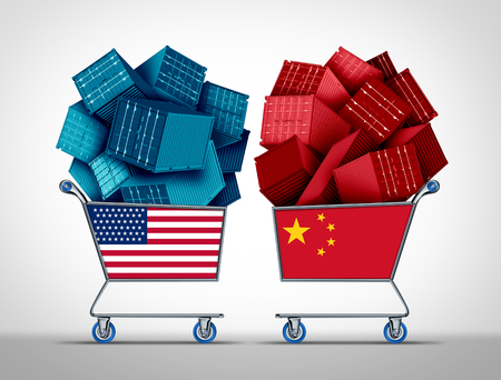 China United States Trade negotiations business concept as a Chinese USA fight as a trade war and tariff dispute on imports and exports industry as a 3D illustration.