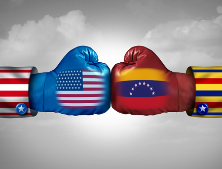USA Venezuela conflict and United States diplomatic crisis or Venezuelan political fight situation as uncertainty in Caracas and breakdown of diplomacy with the south american country in a 3D illustration style.