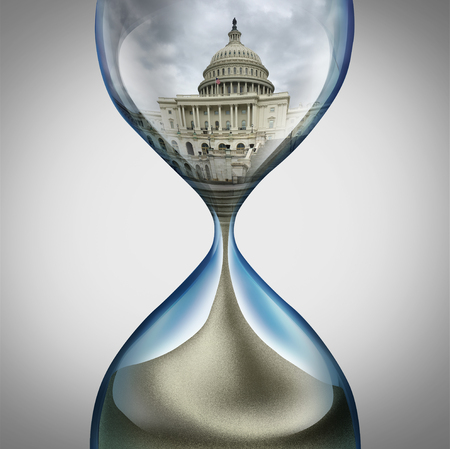 United States government deadline and US congress or American political trouble as an hourglass with leadership legislation time pressure with 3D illustration elements.