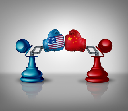 China USA trade fight and United States Chinese negotiations business strategy concept as an economic war and tariff dispute on imports and exports industry as a 3D illustration.