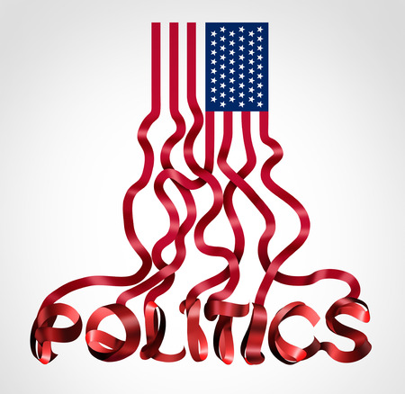 US politics and United States government political symbol as an American flag shaped as text as a creative icon for conservative republican and liberal democrat legislation or election for president or congress and senate as a 3D illustration.