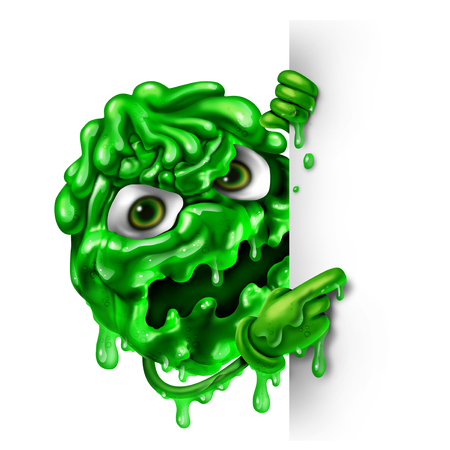 Mucus character as a green snot concept as a runny nose liquid shaped as a contagious monster with a blank sign as a medical illness symbol for sinus or nasal infection or virus bacterial infection as a 3D illustration. Reklamní fotografie