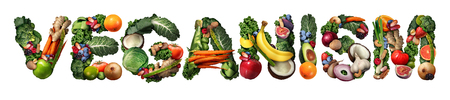Veganism or vegan concept and vegetarian lifestyle icon as a group of fruit vegetables nuts and beans shaped as text isolated on a white background as a healthy diet symbol for eating healthy in a 3D illustration style.