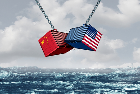 China USA fight as a trade war and tariff dispute on imports and exports industry as a 3D illustration.