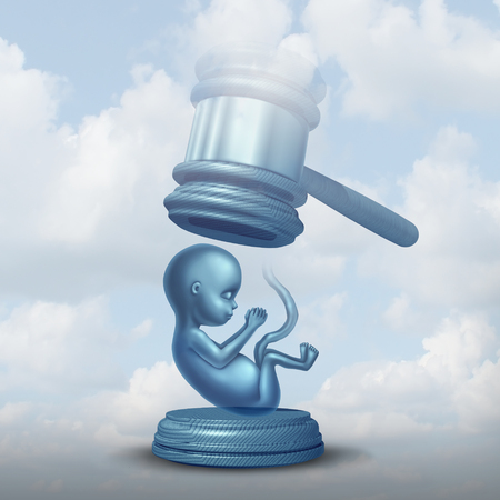Abortion laws and legislation on unborn baby as a fetus with a justice judge gavel representing the social issue and concept of rights with 3D illustration elements. Stock Photo