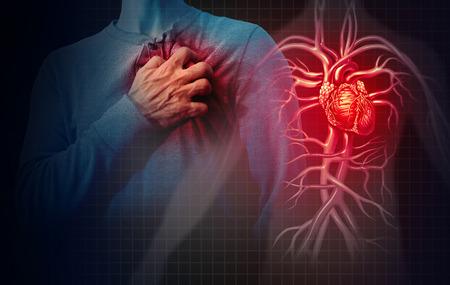 Concetto di attacco di cuore e dolore cardiovascolare umano come concetto di malattia medica anatomica con una persona che soffre di una malattia cardiaca come evento coronarico doloroso con elementi in stile illustrazione 3D. Archivio Fotografico