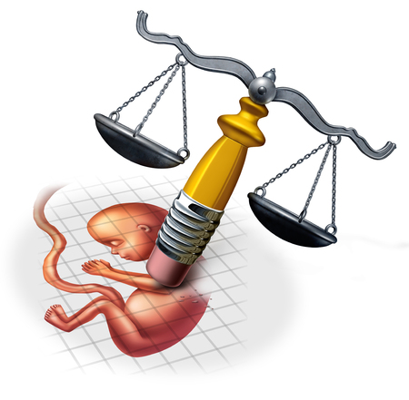 Abortion law concepts and social ethics in regards to late term pregnancy as a fetus being erased by a justice scale with 3D illustration elements.