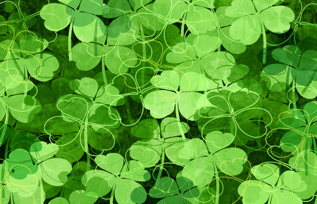 Saint Patrick green clover leaves background holiday pattern with four leaf clovers with 3D illustration elements.