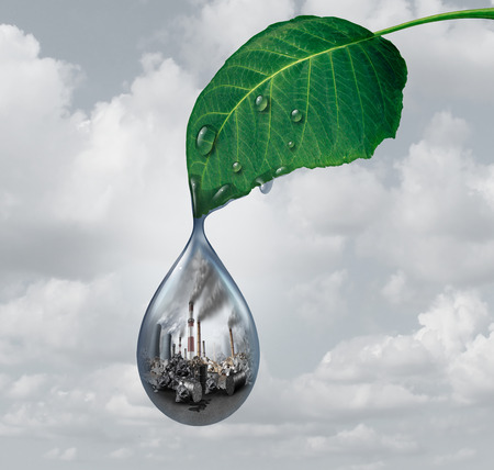 Environmental industry impact and climate change concept as toxic emitting factories and smoking chimney towers polluting water and air as a global warming  social issue with 3D illustration elements. 写真素材