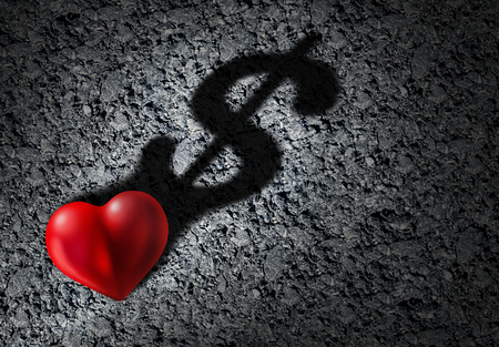 Love and money as a romantic relationship cost or health care insurance expenses as a heart symbol object casting a shadow that is shaped as a dolar shape with 3D illustration element.