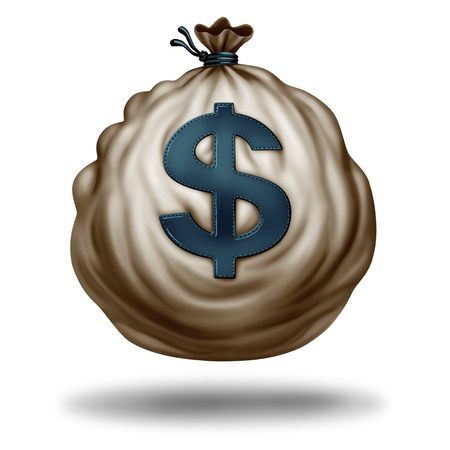 Money bag isolated on a white background with a shadow as a sack of currency and symbol of business and wealth icon with a dollar sign in a 3D illustration style.