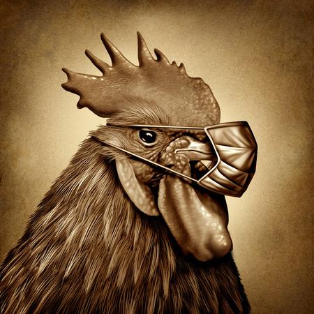 Vogelgrippe und Vogelgrippe als Bauernhofhuhn mit einer medizinischen Maske als Gefährdung der öffentlichen Gesundheit durch einen Virusausbruch, der durch kontaminiertes infiziertes Geflügel in einem 3D-Illustrationsstil verursacht wird.