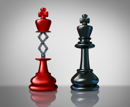 Secret weapon business success concept with a red chess king rising above a competitor leader with a hidden innovative tool as a metaphor for innovation and corporate strategy or planning to win the game as a 3D illustration..