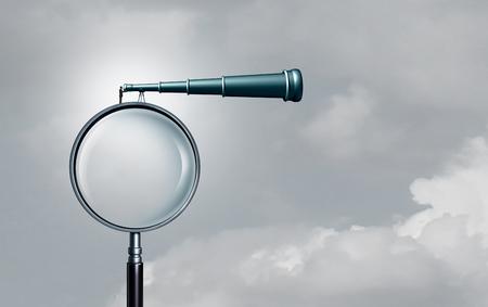 Perspectives à long terme et prévisions de réussite commerciale à la recherche d'opportunités loin en tant qu'homme d'affaires sur une loupe regardant à travers un télescope avec des éléments d'illustration 3D. Banque d'images