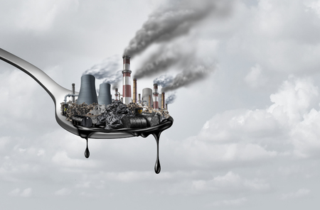 Verschmutzung in Lebensmitteln und giftige Chemikalien essen, surreal, surrealistisch, Idee, Verunreinigungen, die Menschen als Gesundheits- und Sicherheitskonzept als Löffel mit umweltschädlicher Industrie aufnehmen, die mit Erdöl als 3D-Illustration tropft.