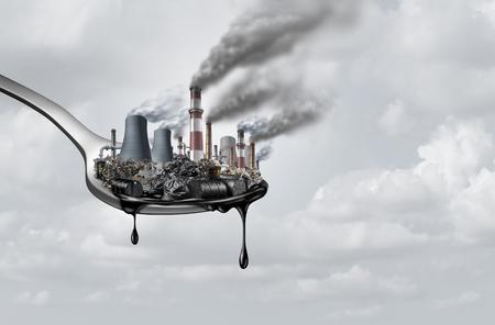 Vervuiling in voedsel en giftige chemicaliën eten, surrealistisch, surrealistisch, idee, verontreinigingen die mensen innemen als een gezondheids- en veiligheidsconcept als een lepel met vervuilende industrie die druipt van aardolie als een 3D-illustratie.