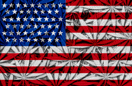 United States cannabis concept and USA marijuana law and legislation social issue as medical and recreational weed usage icon as an American flag on a background of pot symbols in a 3D illustration style. Stock Photo