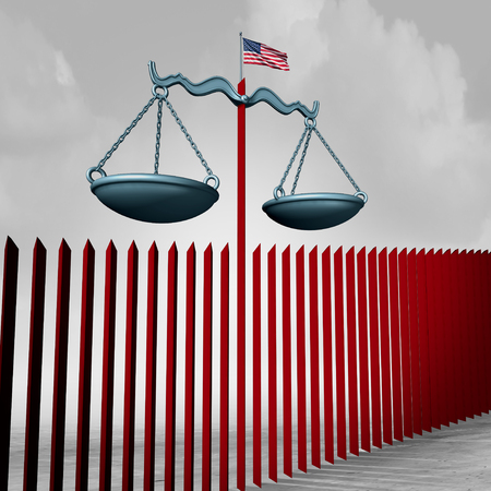 Border wall legal challenge as an American security barrier government immigration policy at the US Mexico national boundary with 3D illustration elements. Foto de archivo - 117141102