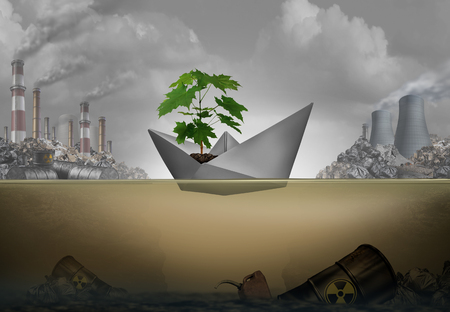 Preserving the environment and save the world concept as a paper boat protecting a green sapling tree on a mission to protect nature with 3D illustration elements.