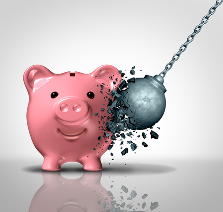 Secure savings and safe investments financial security concept and business investment protection as a strong piggy bank  resisting a wrecking ball as a 3D illustration elements.
