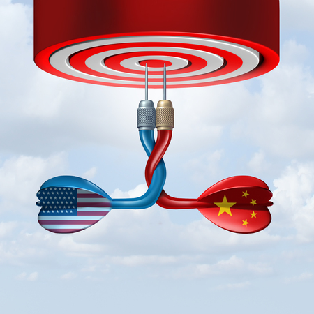 China USA trade deal as representative dart symbols united together in a successful economic agreement with the United States and the Chinese as a 3D illustration.