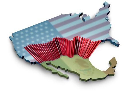 USA Mexico border wall and American homeland security along the Mexican boundary as a barrier to keep illegal immigrants out of the country with a huge metal fence as a 3D illustration.
