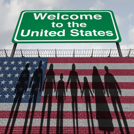 United States wall and immigration border security for immigrants or illegal immigrants to America as an American customs security concept as etnic diverse people wanting to enter with 3D illustration elements.
