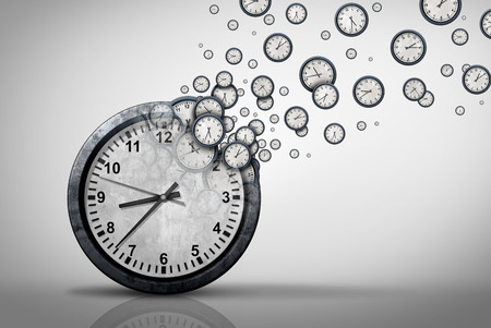 Business time plan concept and planning corporate or personal schedule or wasting minutes as a group of timepieces or clocks coming out of a large clock as a 3D illustration. Stok Fotoğraf - 119265347