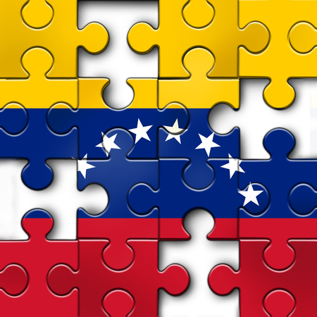 Venezuelapolitical challenge and  crisis or Venezuelan politics as uncertainty in Caracas and a puzzle with the flag of the south american country in a 3D illustration style.