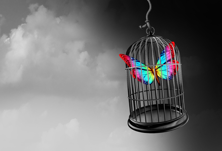Autism psychology and autistic developmental education freedom as a hope symbol and special learning  with caged thinking as a 3D illustration.