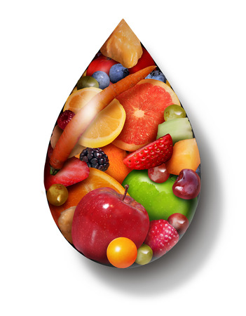 Fruit Juice drop as organic natural sweet produce as a symbol for a detox beverage or healthy food diet drink in a 3D illustration style. Reklamní fotografie