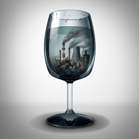 Water and industrial pollution concept and contaminated toxic drinking beverage from the tap as a 3D illustration.