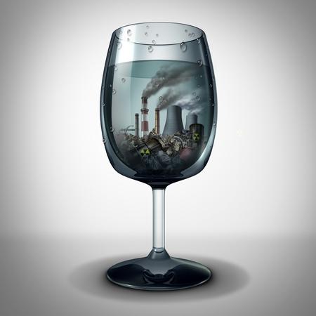 Wasser- und Industrieverschmutzungskonzept und kontaminiertes giftiges Trinkgetränk aus dem Wasserhahn als 3D-Darstellung.