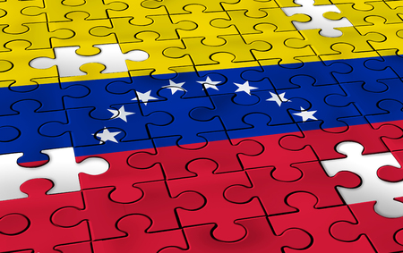 Venezuela concept and political challenge and  crisis or Venezuelan politics as uncertainty in Caracas and a puzzle with the flag of the south american country in a 3D illustration style. Stock Photo
