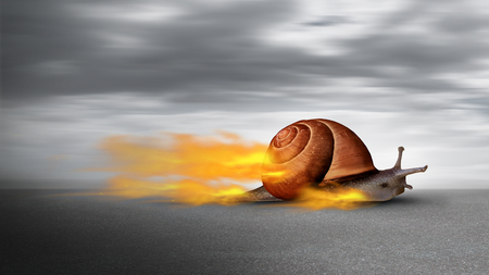 Amazing power concept and business skill services success or competitive advantage as a powerful rocket fast snail winning  and overcoming challenges in a 3D illustration style. Banco de Imagens