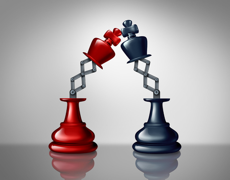 Business leadership competition as opponent enemies in a battle as a strategy concept with two chess king figures fighting as a 3D illustratiomn.