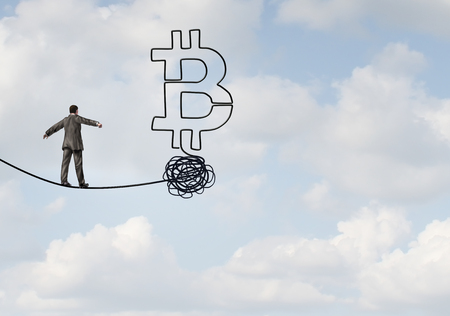 Bitcoin rise and cryptocurrency uncertainty and digital crypto currency as a financial  concept as a businessman on a tightrope in a 3D illustration style. Foto de archivo - 119265512