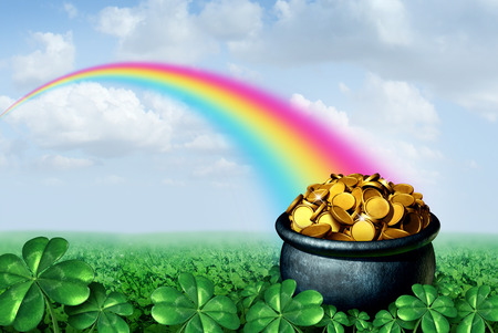 Pot of gold at the end of a rainbow Saint Patricks day concept with a green clover field on a golden sparling treasure as a symbol for spring and luck of the Irish celebration with 3D illustration elements. Stock fotó