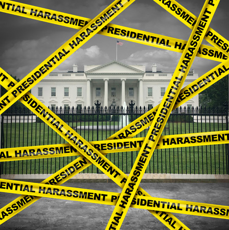 Presidential harassment United States political as house oversight by congress investigating collusion or obstruction by the government for possible impeachment proceedings in a 3D illustration style.