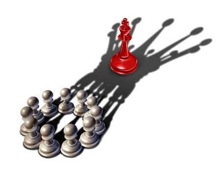 Business strategy leadership concept as a group of chess pawn pieces gathering together as a team to lead and form a king piece to win over another competitor as a 3D illustration.
