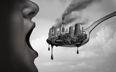 Konzept der Verschmutzung und giftiger Schadstoffe im menschlichen Körper und des Verzehrs von kontaminierten Lebensmitteln als offener Mund, der Industriegifte einnimmt oder der Klimawandel mit 3D-Illustrationselementen auf den Körper einwirkt.